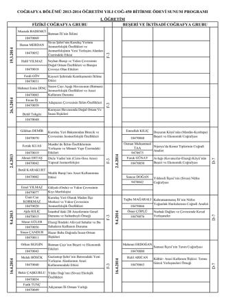 2013-2014 Bitirme Ödevi Sunum Tarihleri