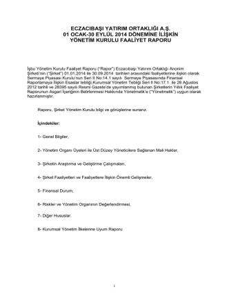 2014 YK Faaliyet Raporu - 3. Çeyrek
