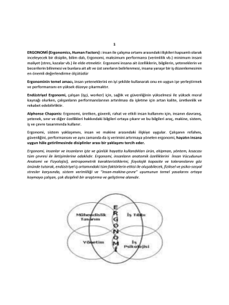 1 ERGONOMİ (Ergonomics, Human Factors) : insan ile çalışma ortamı