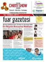En Büyük Buluşma Noktası: - Turkchem Chemshow Eurasia 2014