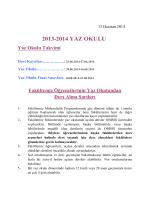 2013-2014 YAZ OKULU