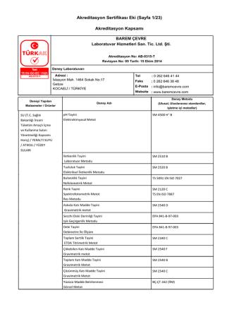 Akreditasyon Sertifikası Eki (Sayfa 1/23) Akreditasyon Kapsamı