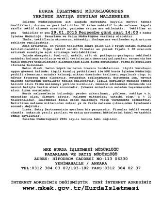 29.01.2015 Tarihli Yerinde Satış Hurda Malzeme Listesi