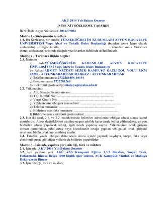 AKÜ 2014 Yılı Bakım Onarım İşi Sözleşme Tasarısı