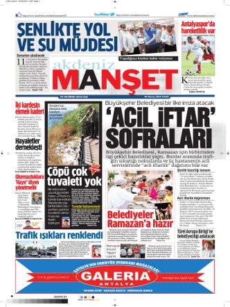 ACiL iFTAR - Akdeniz Manşet