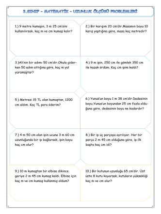 3.Sınıf – Matematik – Uzunluk Ölçüsü Problemleri