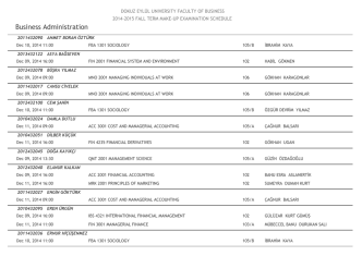 2014-2015 Güz Yarıyılı Mazeret Sınav Programı