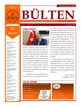 Bu Sayıda - Gaziantep Milli Eğitim Müdürlüğü