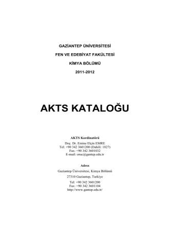 akts kataloğu - Gaziantep Üniversitesi