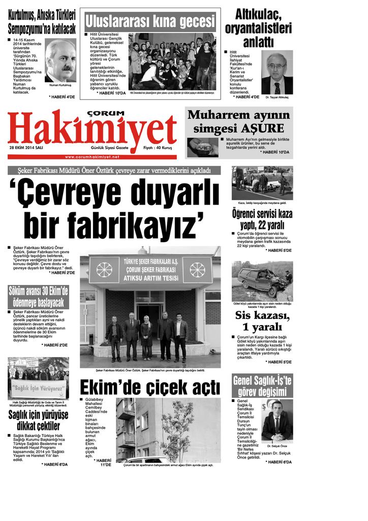28 Ekim Qxd Corum Hakimiyet Gazetesi