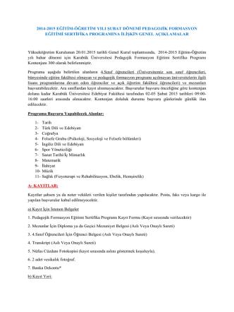 2014-2015 eğitim-öğretim yılı şubat dönemi pedagojik formasyon
