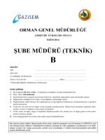 Şube Müdürü (Teknik) B - Orman Genel Müdürlüğü