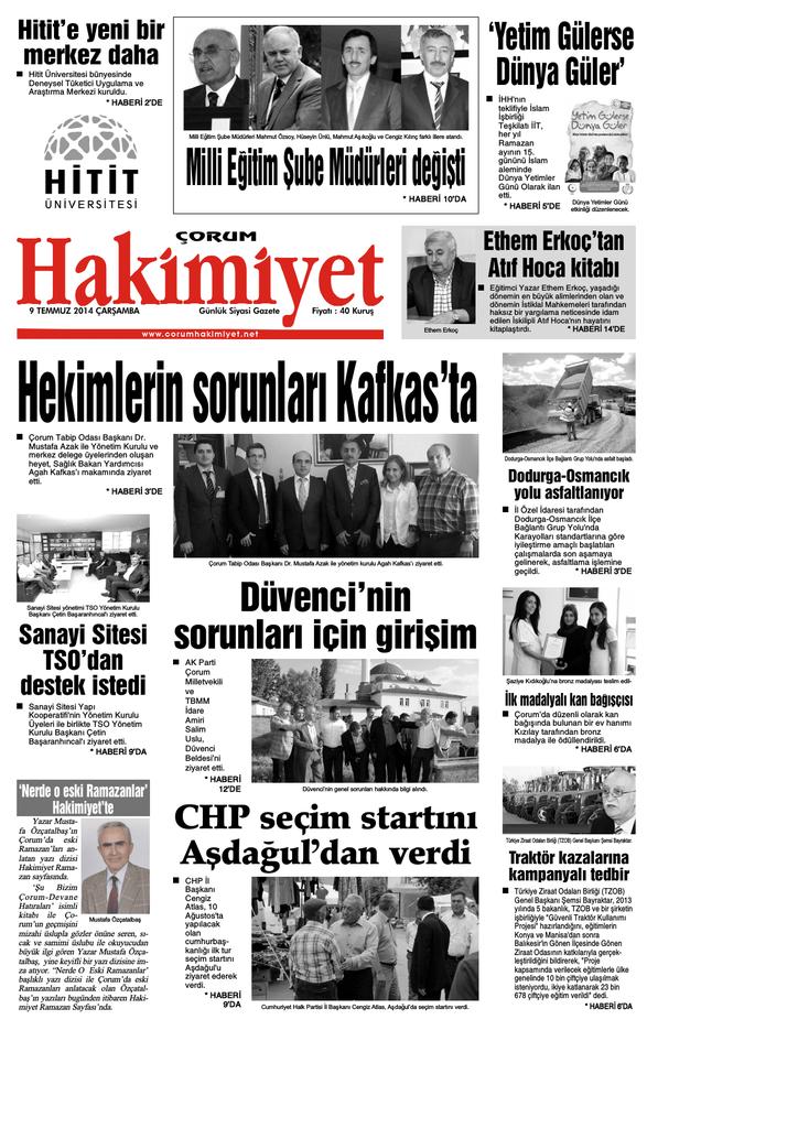 09 Temmuz 2014 Carsamba Corum Hakimiyet Gazetesi