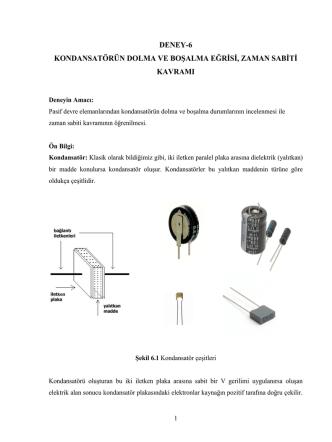 deney-6 kondansatörün dolma ve boşalma eğrisi, zaman sabiti