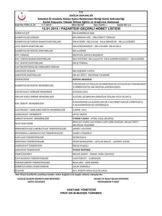 12.01.2015 - Kartal Koşuyolu Yüksek İhtisas Eğitim ve Araştırma