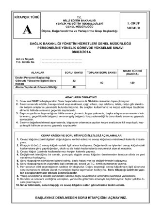 08.03.2014 Tarihli Sağlık Bakanlığı Yönetim Hiz. Gen. Müd