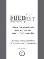 IĞDIR ÜNİVERSİTESİ Fen Bilimleri Enstitüsü Dergisi (FBED