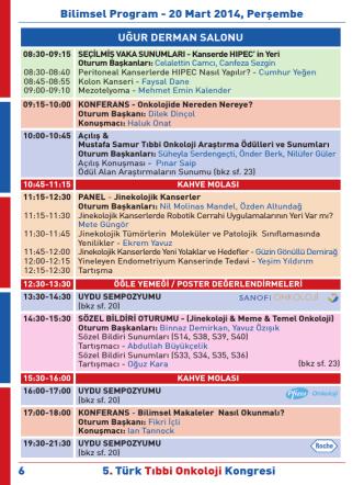 20 Mart 2014, Perşembe - 5. Türk Tıbbi Onkoloji Kongresi