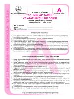 8. SINIF T.C. İNKILAP TARİHİ VE A TA TÜRKÇÜLÜK TESTİ 2014