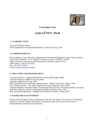 Aylin GÜNEY, Ph.D. - Uluslararası İlişkiler Bölümü