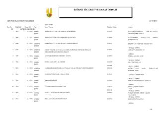 12. Meslek Grubu - Edirne Ticaret ve Sanayi Odası