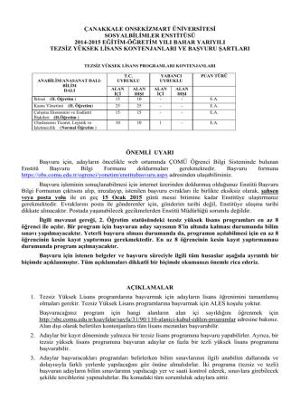 çanakkale onsekizmart üniversitesi sosyalbilimler enstitüsü 2014