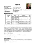 Uzun CV - Metalurji ve Malzeme Mühendisliği
