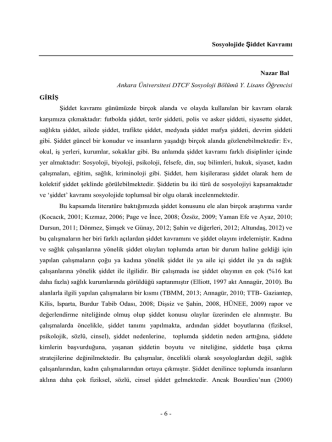 - 6 - Sosyolojide Şiddet Kavramı Nazar Bal Ankara