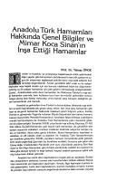 Anadolu Türk Hamamları Hakkında Genel Bilgiler ve Mimar Koca