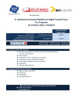 6. Uluslararası Kuveyt Medikal ve Sağlık Turizmi Fuarı