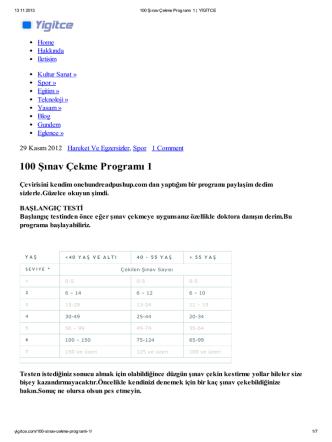100 Şınav Çekme Programı 1