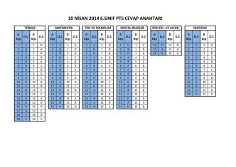 10 nisan 2014 6.sınıf pts cevap anahtarı