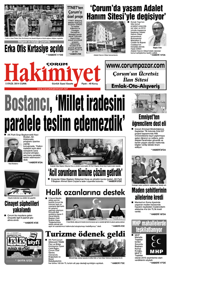 5 Eyl 374l Qxd Corum Hakimiyet Gazetesi