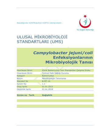 Campylobacter enfeksiyonları - Türkiye Halk Sağlığı Kurumu