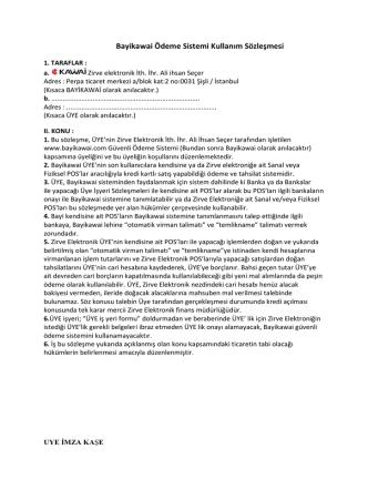 Bayikawai Ödeme Sistemi Kullanım Sözleşmesi