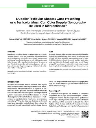 Brucellar Testicular Abscess Case Presenting as a