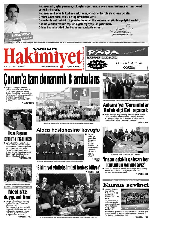 8 Mart Qxd Corum Hakimiyet Gazetesi