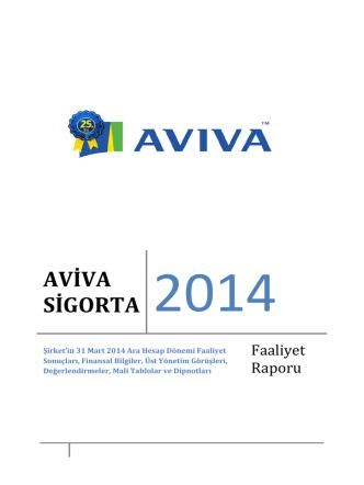 Aviva Sigorta A.Ş. 31 Mart 2014 Yönetim Kurulu Faaliyet Raporu