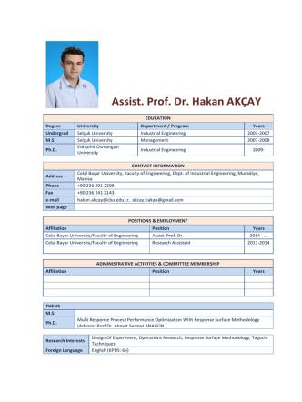 Assist. Prof. Dr. Hakan AKÇAY