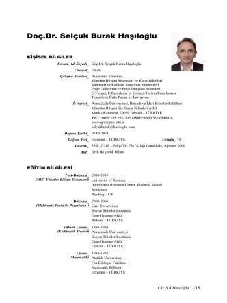 CV - Yönetim Bilişim Sistemleri Bölümü