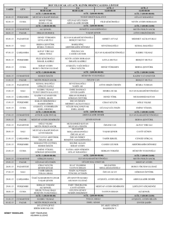 2015 yılı ocak ayı acil klinik hekim çalışma listesi