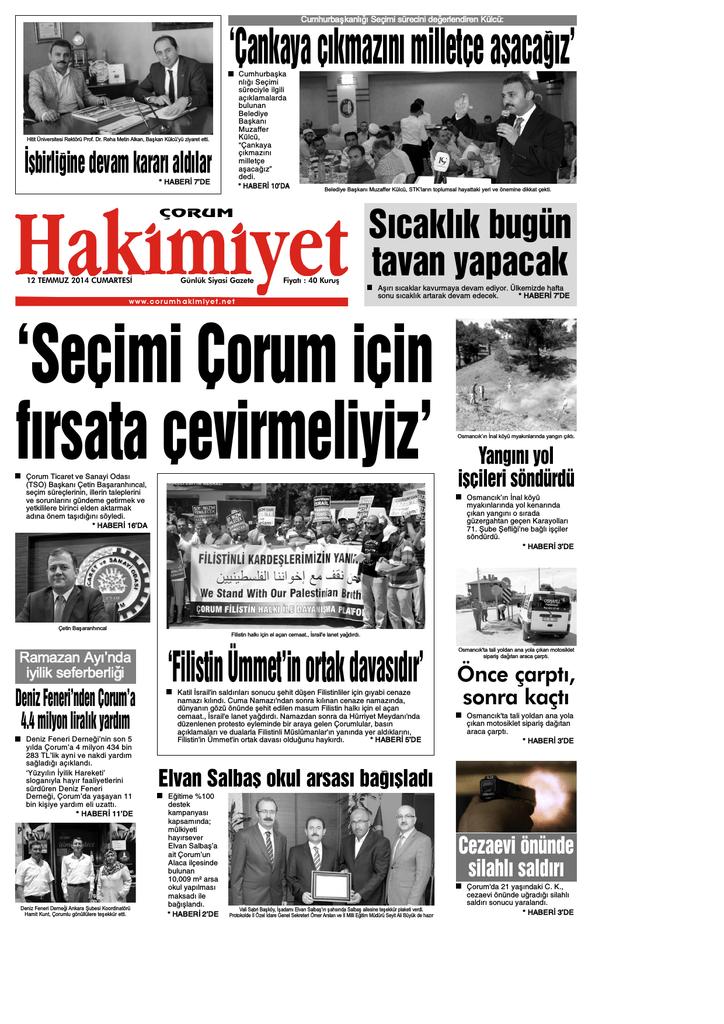 12 Temmuz 2014 Cumartesi Corum Hakimiyet Gazetesi