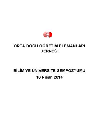 Bilim ve Üniversite Sempozyumu - Orta Doğu Öğretim Elemanları