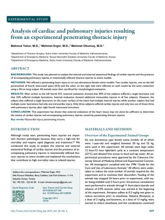 Analysis of cardiac and pulmonary injuries resulting