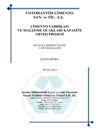 ÇED Raporu - Çevre ve Şehircilik Bakanlığı