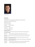 Curriculum Vitae M. Hadi Zareie Mailing Address: Izmir Institute of