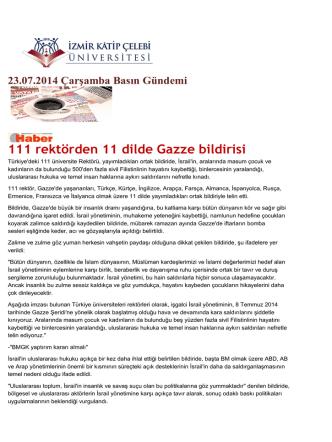 111 rektörden 11 dilde Gazze bildirisi