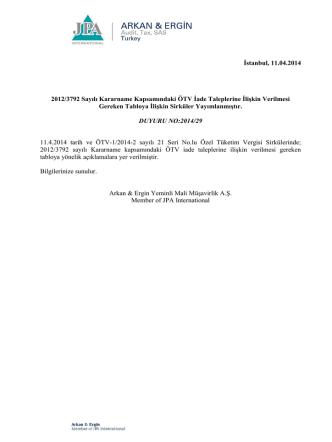 2014-29 2012/3792 Sayılı Kararname