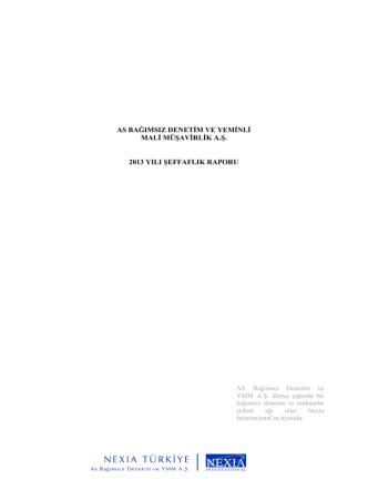 2013 Şeffaflık Raporu