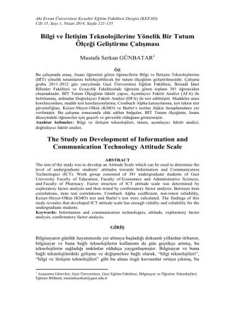 Bilgi ve İletişim Teknolojilerine Yönelik Bir Tutum Ölçeği Geliştirme